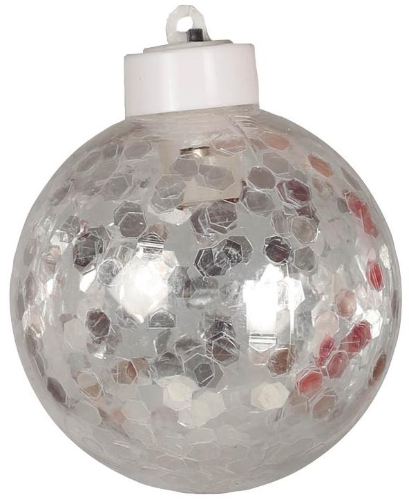 1 stk Julekule med Sølvfarget Konfetti og LED-Lys 8 cm