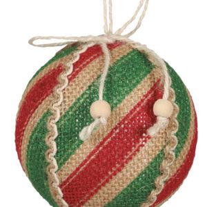 1 stk Rød og Grønn Strie Julekule 8 cm