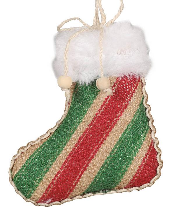 1 stk Rød og Grønn Strømpeformet Julekule 11x9 cm