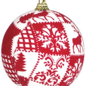 1 stk Rød og Hvit Julekule 8 cm