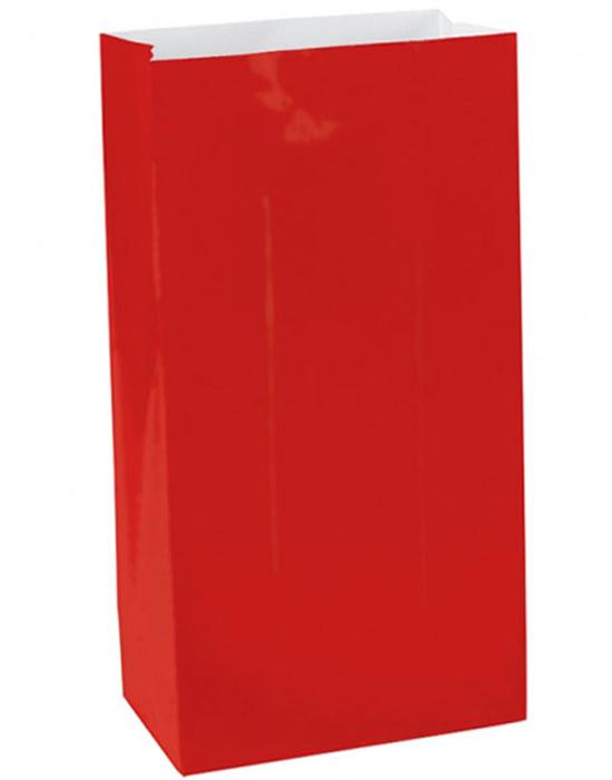 12 stk Røde Godteposer i Papir