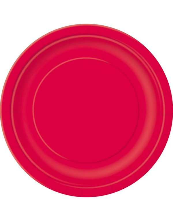 16 stk Røde Papptallerkener 22 cm