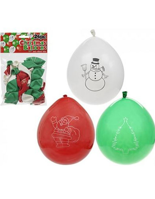 24 stk 25 cm Ballonger med Julemotiver