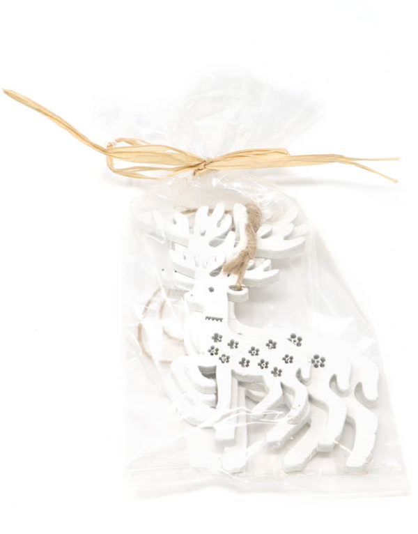 3 stk Hvite Reinsdyr i Treverk - Juletrepynt