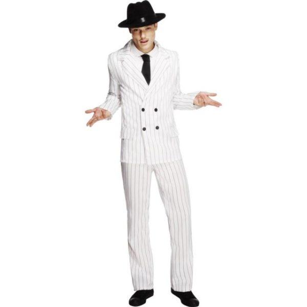 30 talls Gangster Hvit Pinstripe Kostyme - L