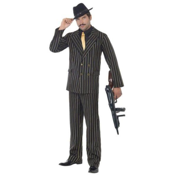 30 talls Gangster Pinstripe Gull Kostyme - L
