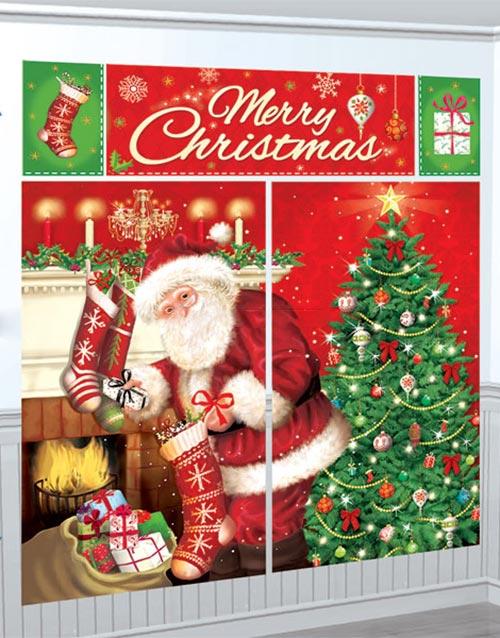 5 Deler Santa Claus Scene Setter Veggdekorasjon 165 x 190 cm
