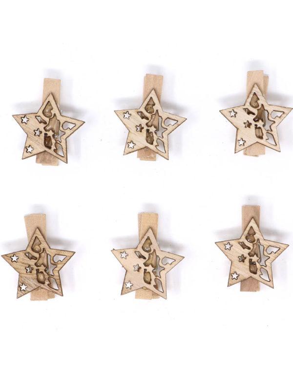 6 stk Beige Treklyper med Stjerner