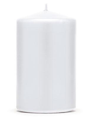 6 stk Hvite Kubbelys 10x6,5 cm
