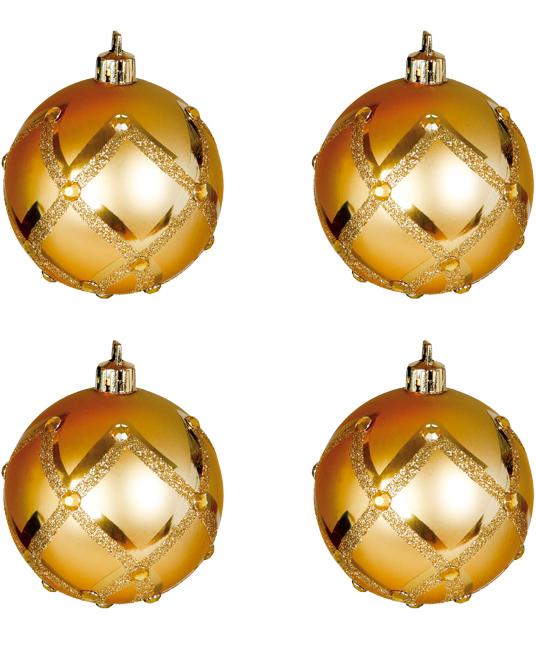 6 stk Matte Gullfarget Julekuler med Glitter og Stener