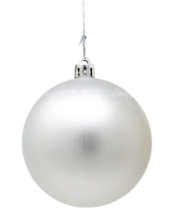 6 stk Matte Sølvfarget Julekuler