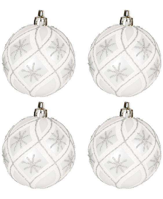 6 stk Matte Sølvfarget Julekuler med Rutet Motiv og Glitter