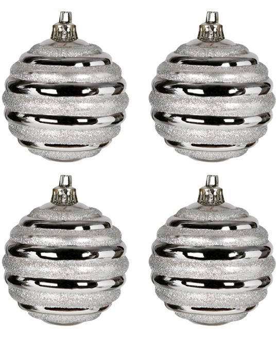 6 stk Metalliske Sølvfarget Julekuler med Stripete Glitter