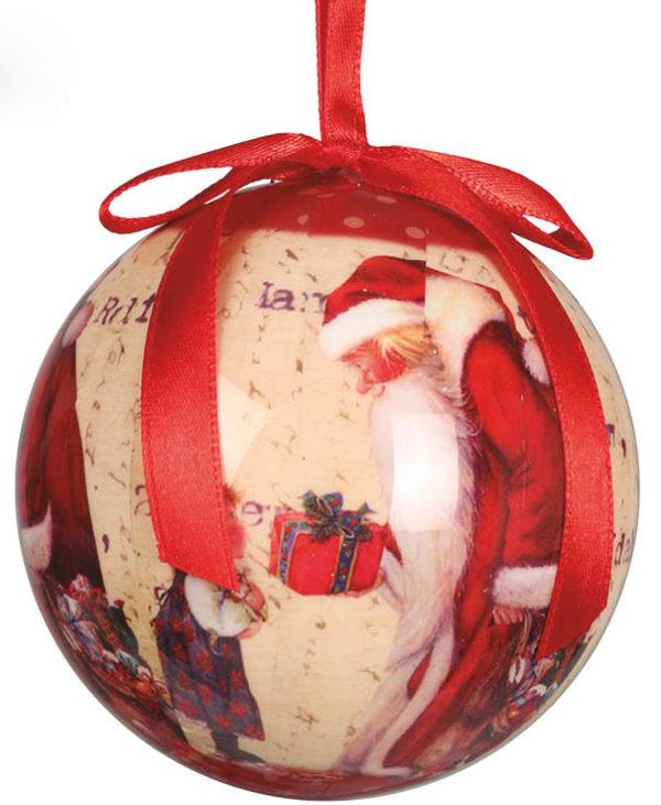 6 stk Røde Julekuler med Julenissemotiv