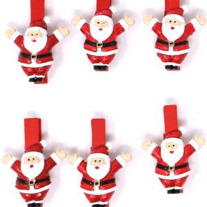 6 stk Røde Treklyper med Julenisser