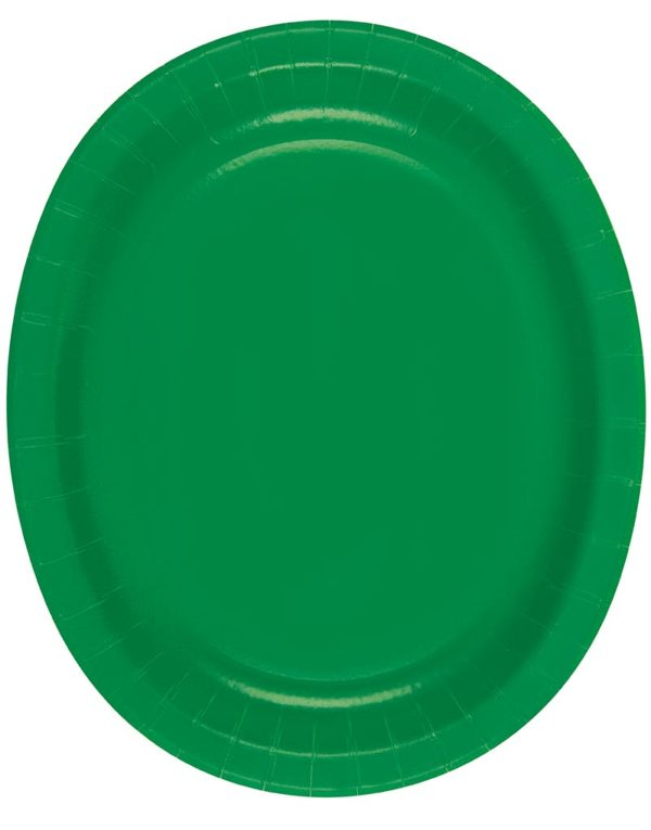 8 stk Grønne Ovale Papptallerkener/Serveringsfat 31x25 cm