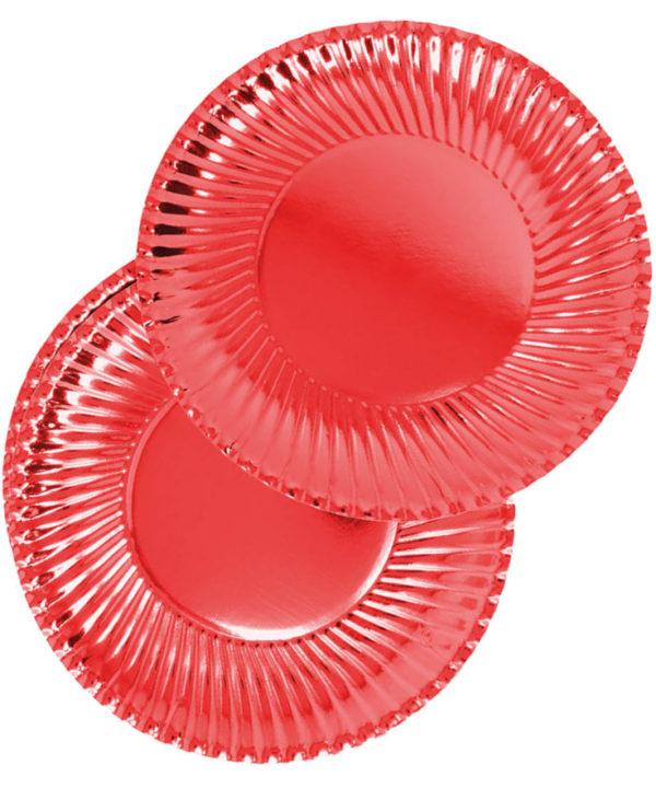 8 stk Metallisk Røde Papptallerkener 24 cm