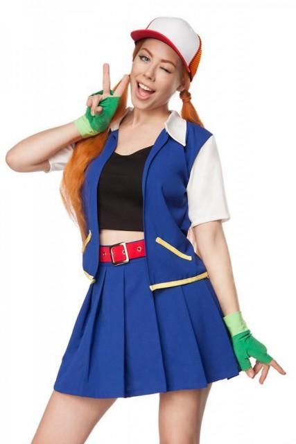 Ash Ketchum Pokemon Dame Kostyme - M