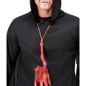 Avkuttet Blodig Hånd på Krok - Kostymesmykke