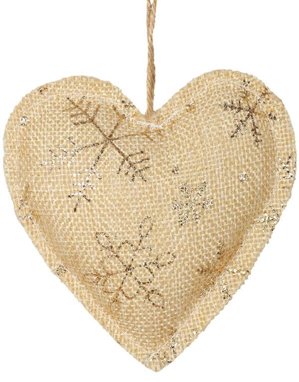 Beige og Gullfarget Juletrepynt med Hjerteform
