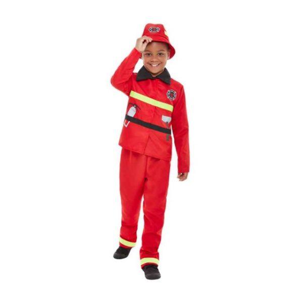 Brannmann Rødt Barnekostyme M