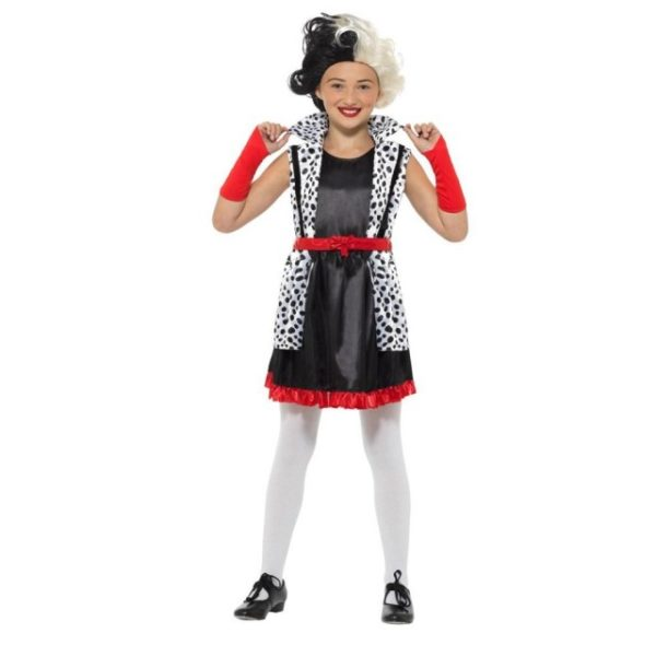 Cruella de Vil Dalmatiner Barnekostyme - S