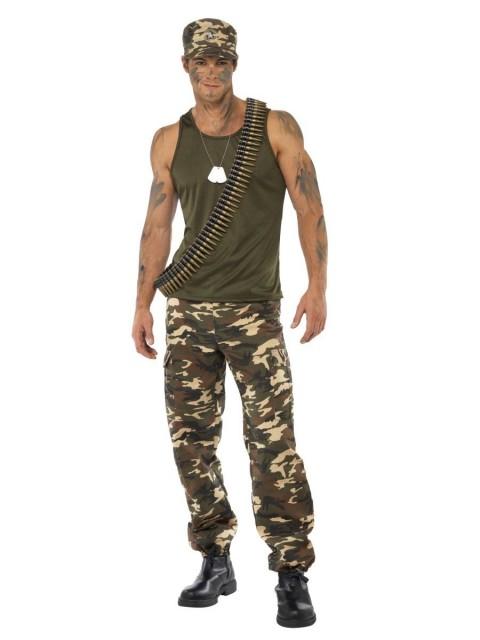 Deluxe Soldat Kamuflasje Kostyme Mann- M