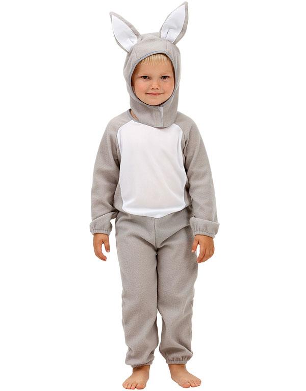 Grått Kanin Barnekostyme med Hette og Ører