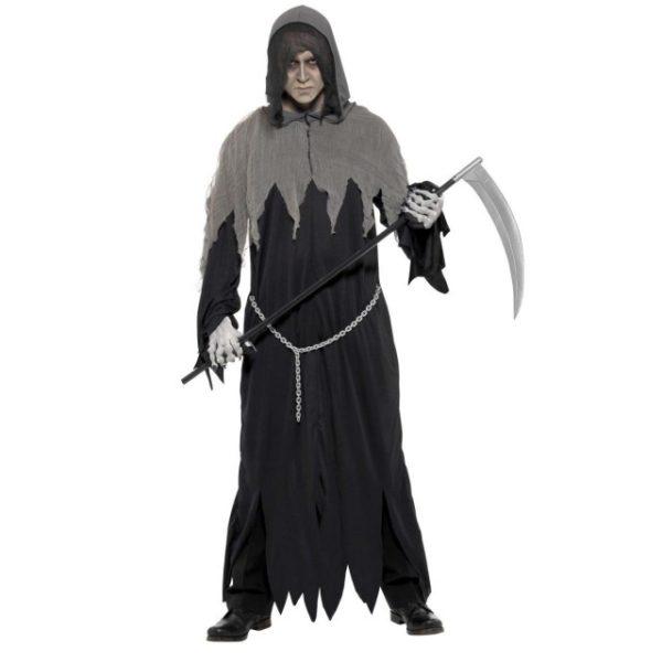 Grim Reaper Kostyme Sort m. Hette - M