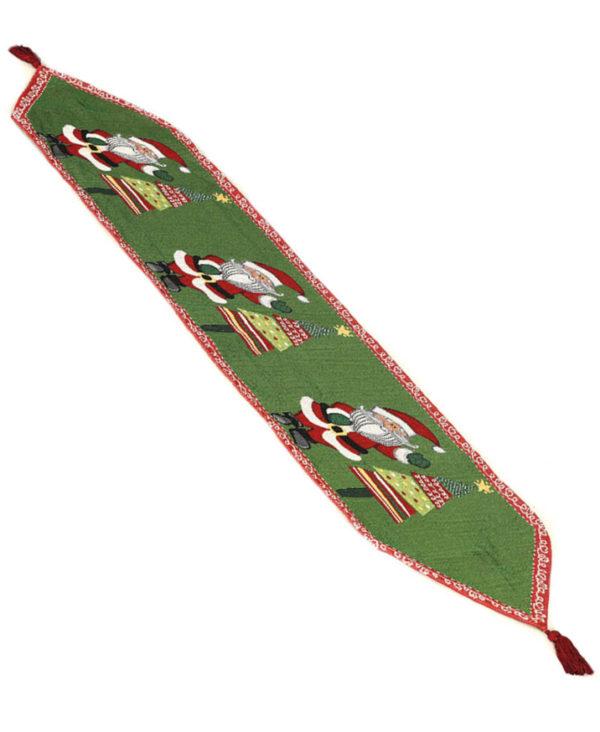 Grønn Vevd Bordløper med Nissemotiver 137x33 cm