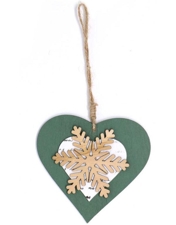 Grønt Hjerte med Snøkrystall - 11 cm Juletrepynt