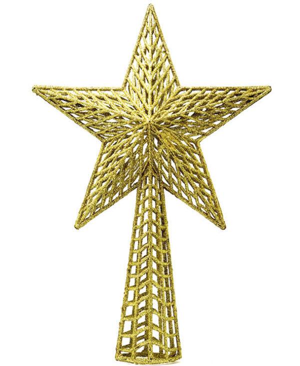 Gullfarget Juletrestjerne med Glitter 27 cm
