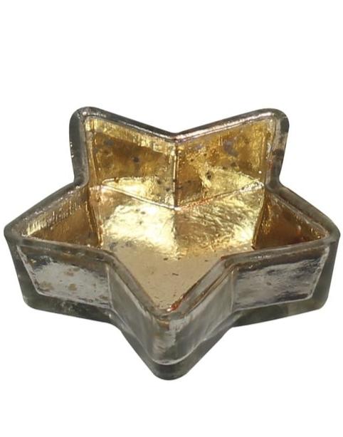Gullfarget Telysholder med Stjerneform 7,5 cm