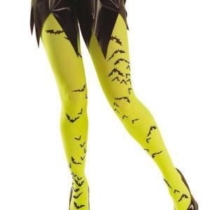 Halloween Strømpebukse med Flaggermus - Neon Gul