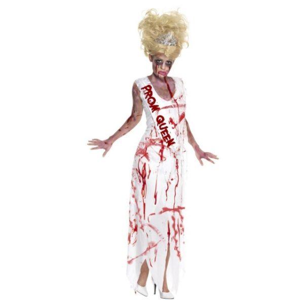 High School Horror Zombie Prom Queen Kostyme - L