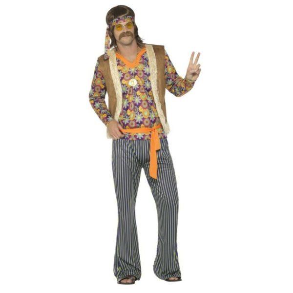 Hippie Sanger Herre Kostyme - L