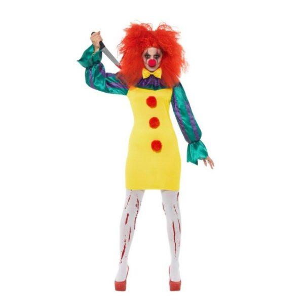 Horror Killer Clown Damekostyme - L