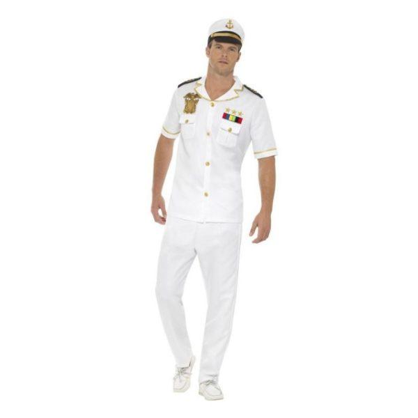 Hvit Sjøkaptein Kostyme - S