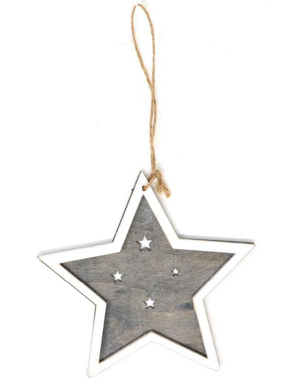 Hvit og Grå Stjerne i Treverk 15 cm