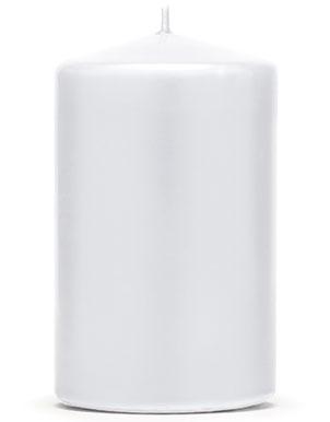 Hvitt Kubbelys 10x6,5 cm