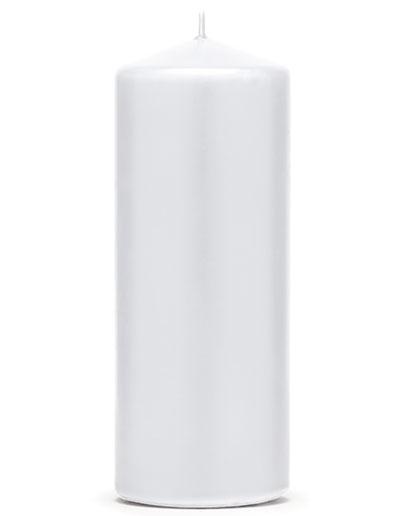 Hvitt Kubbelys 15x6 cm