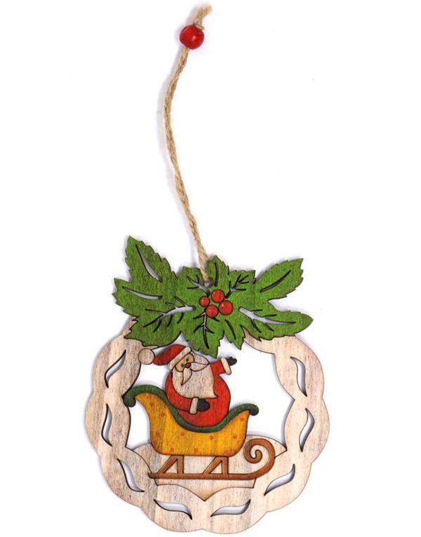 Julekrans i Treverk med Julenissemotiv - 11 cm Juletrepynt