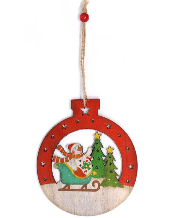 Julekule i Treverk med Snømann - 12 cm Juletrepynt