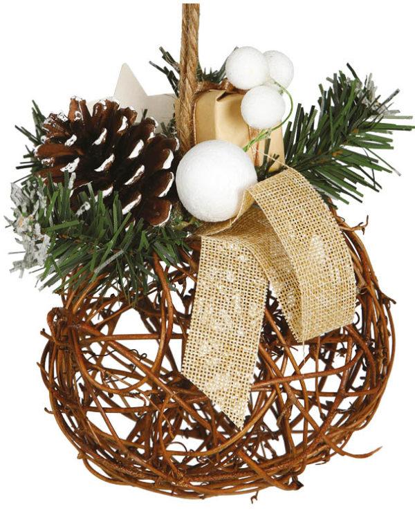 Julekule med Grener, Kongle og Presang - 16 cm Juledekorasjon