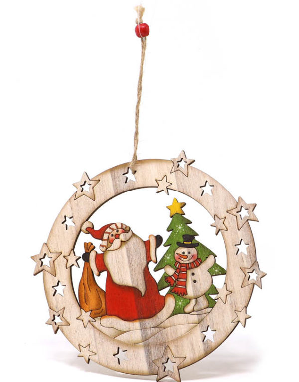 Julekule med Julenisse og Snømann - 15 cm Juletrepynt
