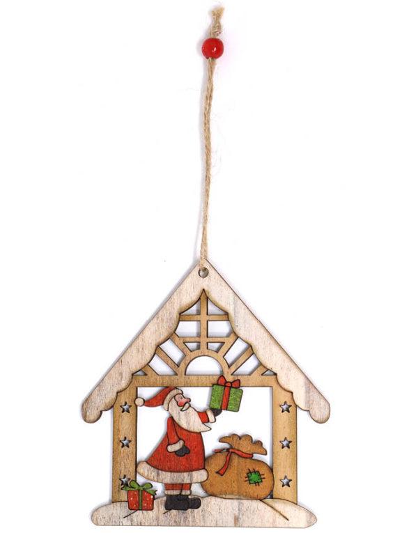 Julenisse i Trehus - 12 cm Juletrepynt