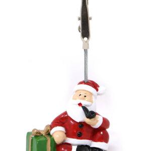 Julenisse med Pakke og Pipe - Bordkortholder 10 cm