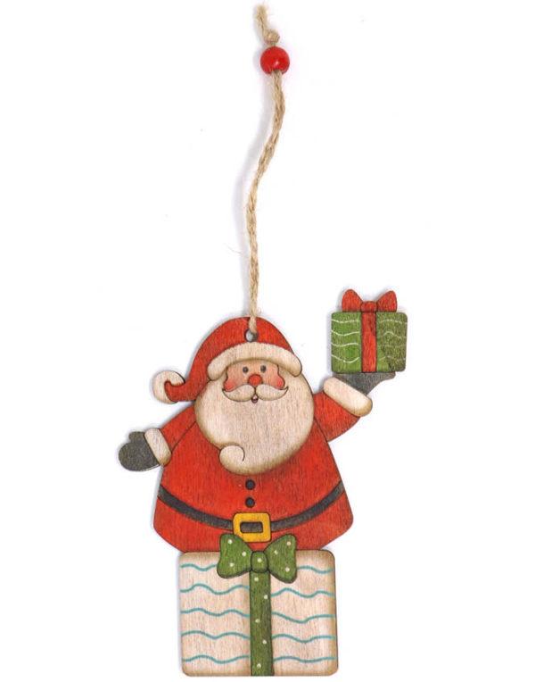 Julenisse og Presang - 13 cm Juletrepynt