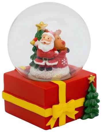 Julenisse på Pakke - Liten Snøkule 7x5 cm