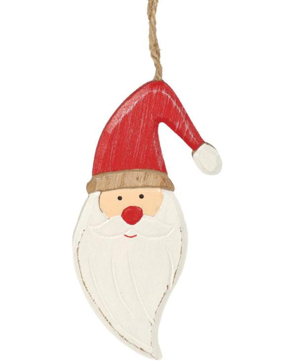Julenissefigur i Treverk med Snor 12 cm